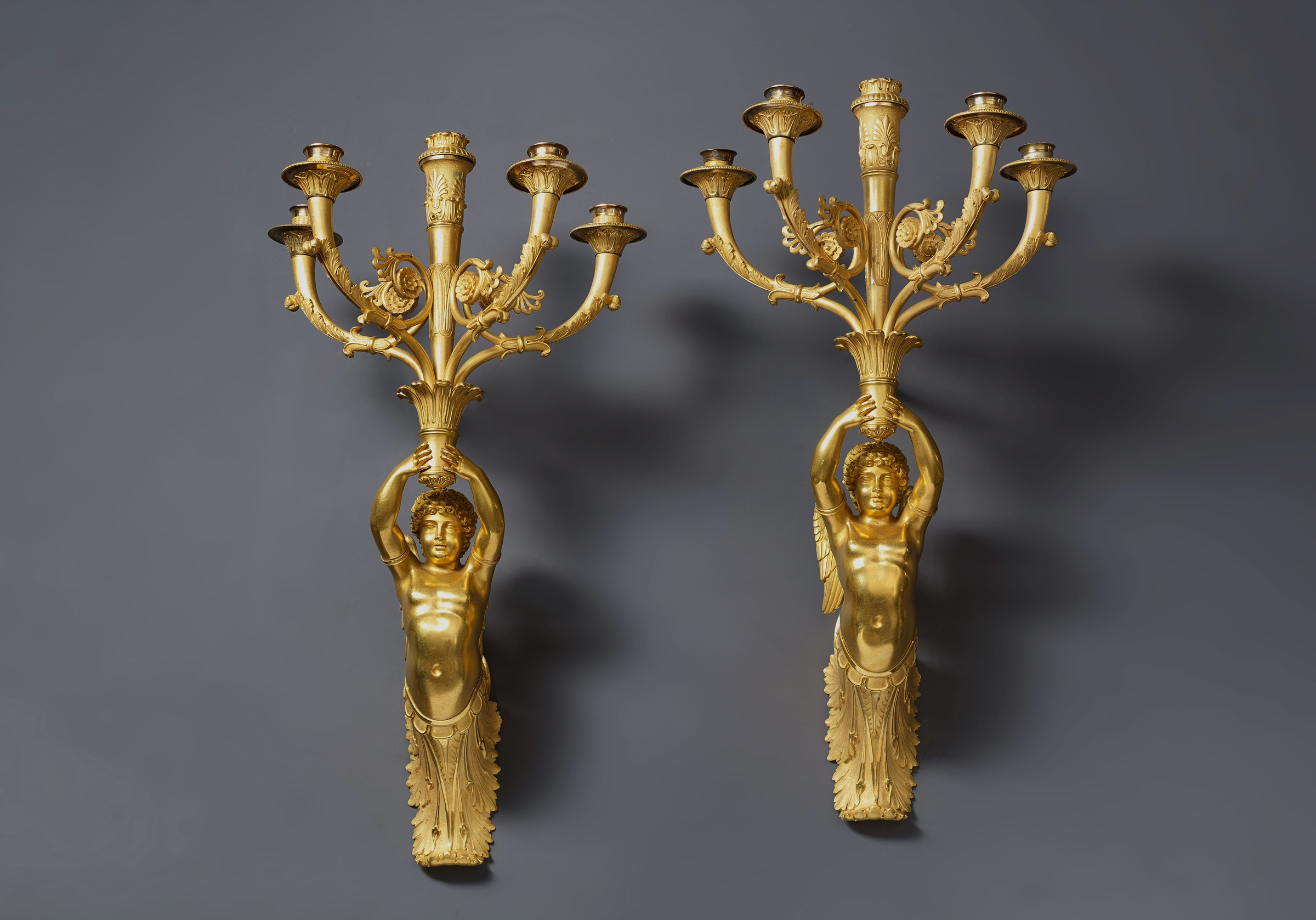 Pierre Philippe Thomire attributed to A pair of Empire five light