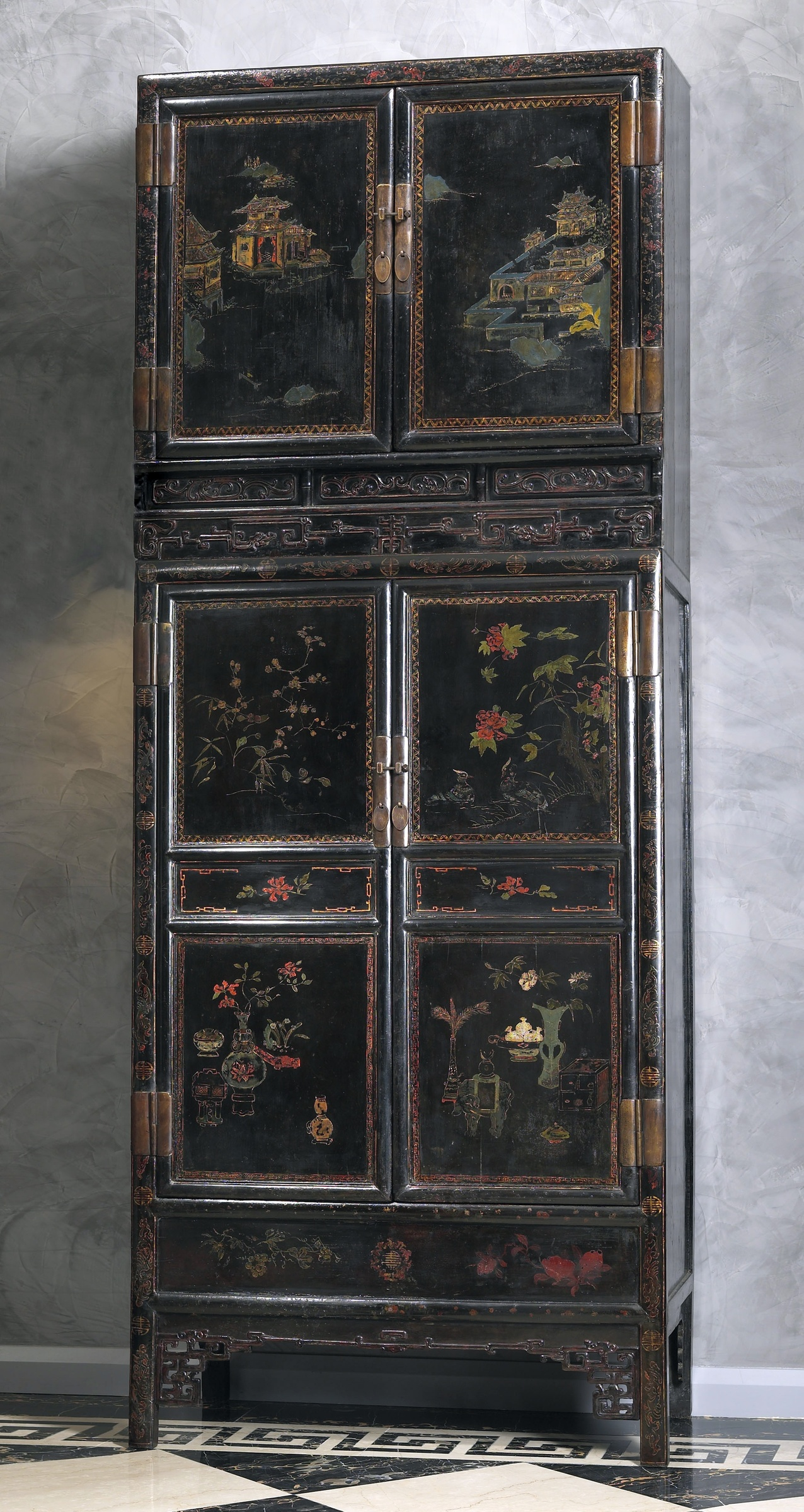 A Pair Of Late Kangxi Dynasty Imperial Chinese Cabinets And Hat Chests