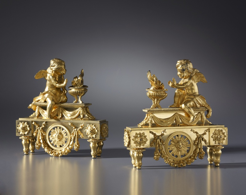 A pair of Louis XVI chenets, Paris, date circa 1780