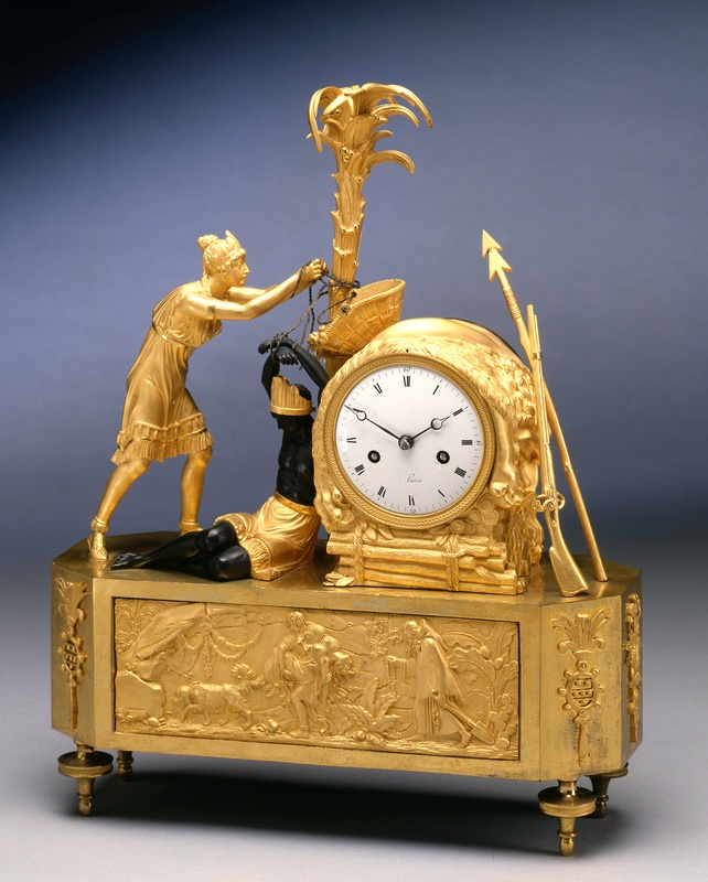 An Empire figural clock depicting the model of Atala freeing Chactas, Paris, date circa 1805