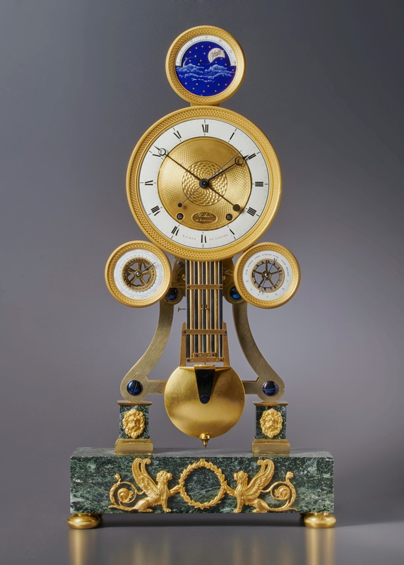 A Louis XVI astronomical skeleton clock of month duration by Robin au Louvre, Paris, date circa 1790