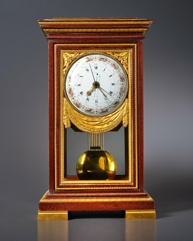 A Louis XVI mantel regulator of month duration, by Robert Robin, the polychrome dial by Dubuisson and case attributed to Jean-Ferdinand-Joseph Schwerdfeger, Paris, dated 1790