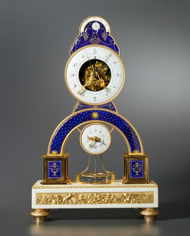 A Directoire skeleton clock of eight day duration by Darlot , Paris, date circa 1793-95