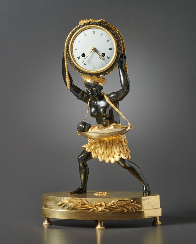 "An Empire mantel clock ""La Nourrice Africaine or the African Nursemaid"", housed in a case after a design by Louis Croutelle aîné , Paris, date circa 1810"