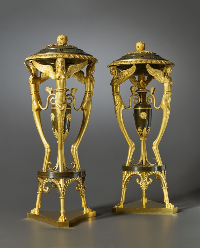 A pair of Russian Empire incense burners, Saint Petersburg, date circa 1810