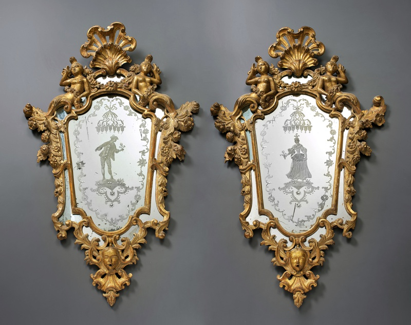 A pair of Venetian Rococo engraved mirrors in frames, Venice, date circa 1740
