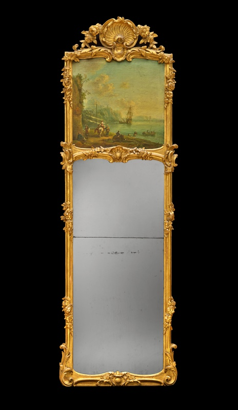 A highly ornate German Louis XV period trumeau mirror, Most probably Frankfurt, date circa 1760-70