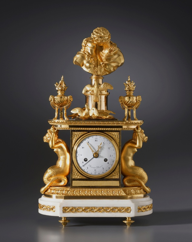 Noël Bourret, A late eighteenth century figural mantel clock of eight day duration by Noël Bourret, Paris, date circa 1785-95