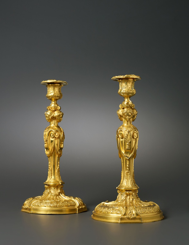 A pair of Louis XVI candlesticks after a model by Jean-Démosthène Dugourc, Paris, date circa 1785