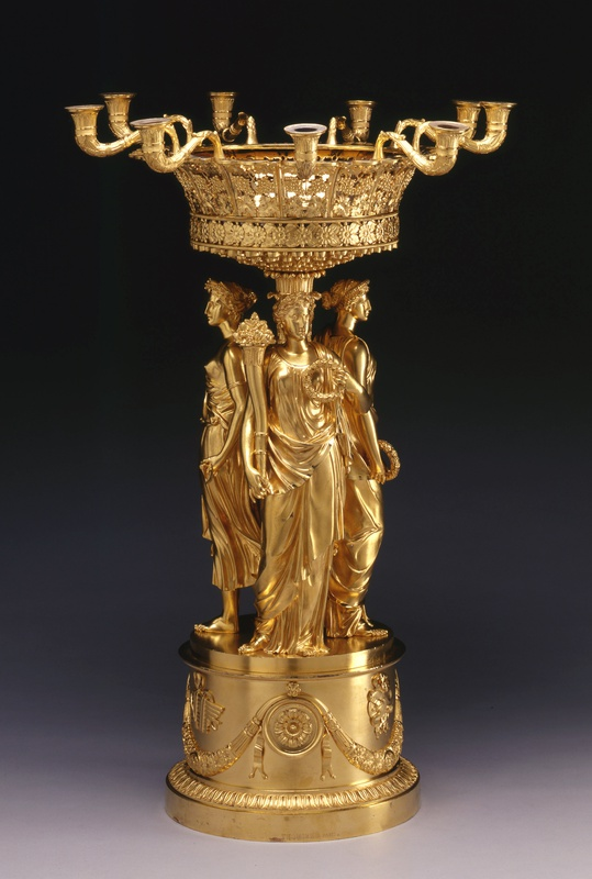 An Empire figural centrepiece with detachable nine-light candelabrum by Pierre-Philippe Thomire, Paris, date circa 1810-15