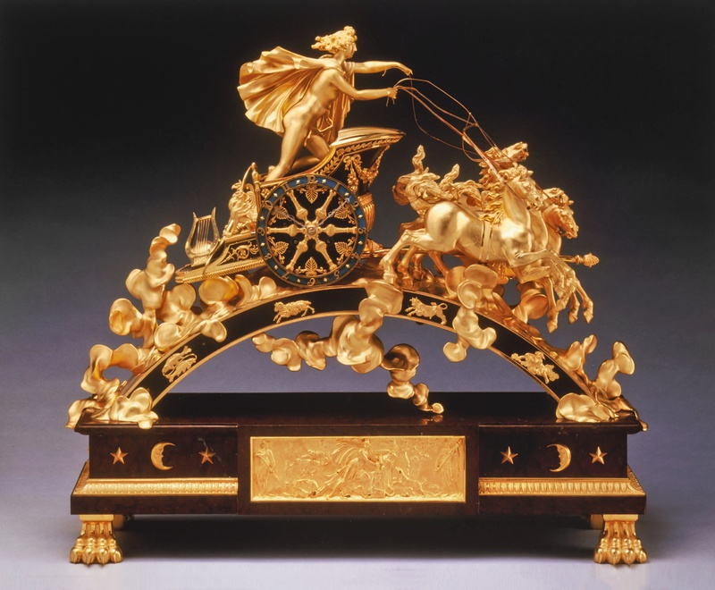 An Empire chariot clock, representing Phaeton's flight in the sun's chariot across the heavens by Pierre-Philippe Thomire, Paris, date circa 1805-10