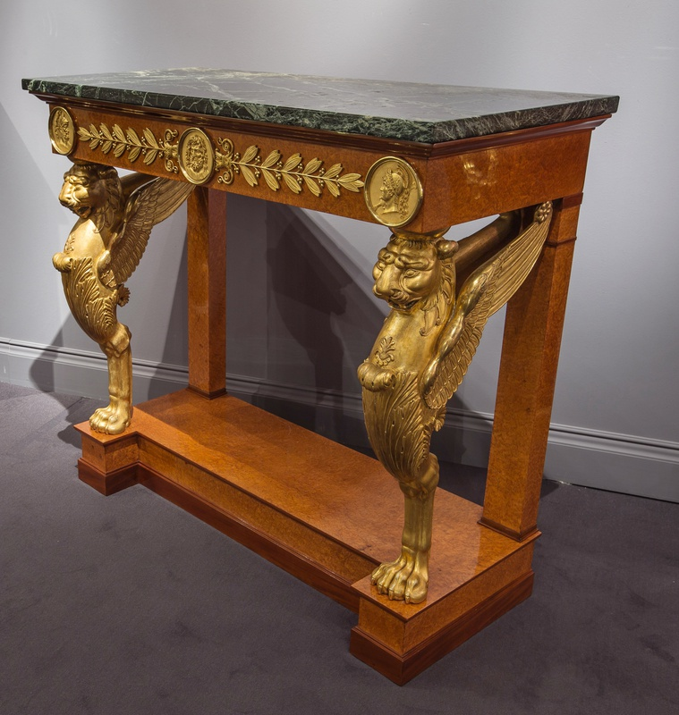 An Empire console table attributed to Jacob-Desmalter et Cie, gilt bronze mounts attributed to Pierre-Philippe Thomire, Paris, date circa 1805
