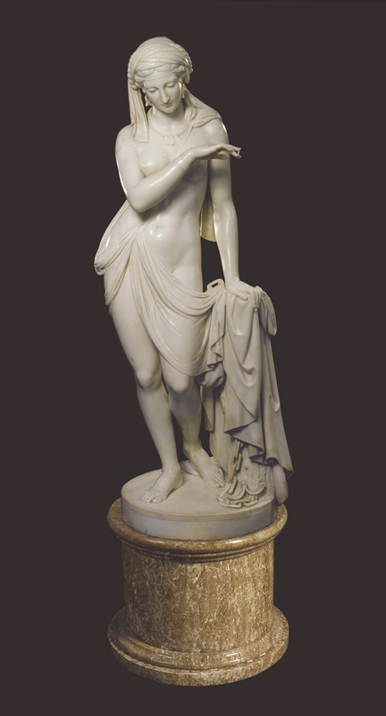A Classical statue of The Greek Slave or La Schiava Greca by Scipione Tadolini, Rome, dated 1860
