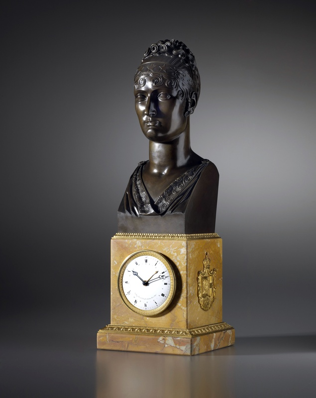 An Empire mantel clock with movement by Basile-Charles Le Roy and bronze bust by Jacques-Edmé Dumont, Paris, dated 1810