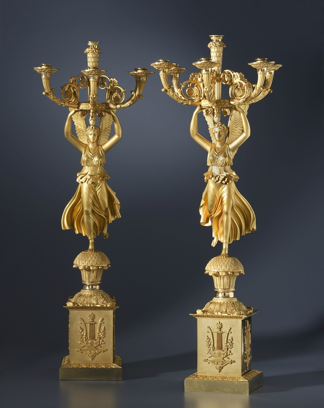 A pair of Empire six-light candelabra by Pierre-Philippe Thomire, after a design by Charles Percier, Paris, date circa 1810