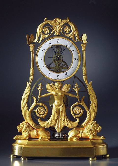 An Empire quarter striking skeleton clock of two to three months duration, Paris, date circa 1810