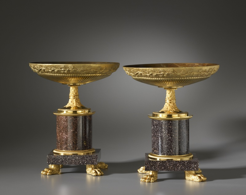 A pair of Empire coupes, each with a circular gadrooned dish , Paris, date circa 1810-20