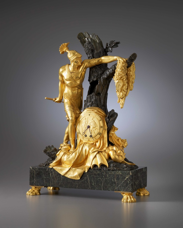 An Empire mantel clock with case representing Jason and the Golden Fleece attributed to Pierre-François Feuchère, Paris, date circa 1810