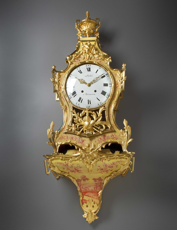 A Louis XVI cartel clock with musical movement and bracket by Michel à Bourbonne , The case and musical movement: France. The clock movement: Switzerland, date circa 1775