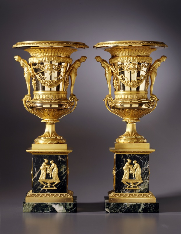 A pair of large sized St. Petersburg Empire vases attributed to Friedrich Bergenfeldt, Saint Petersburg, date circa 1805