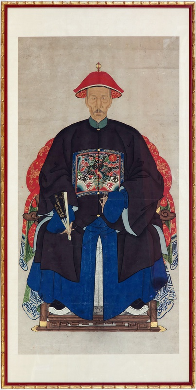 A pair of Chinese late Qing dynasty ancestor portraits showing a senior official of the third rank and his wife, China, late 19th century