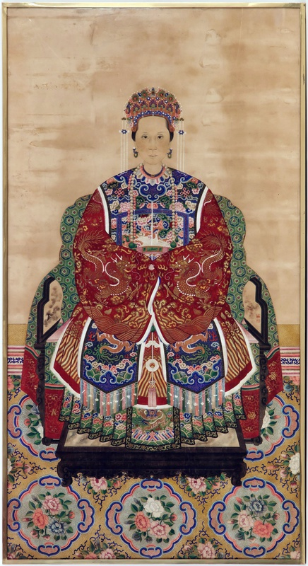 A Chinese late Qing dynasty ancestor portrait showing the wife of a senior official of the fifth rank, China, late 19th Century