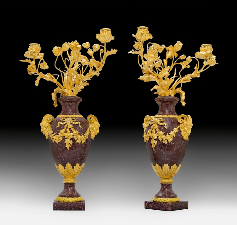 A pair of Louis XVI three-light candelabra, Paris, date circa 1785