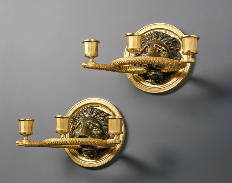 A pair of Empire three lights wall lights, attributed to Pierre-Philippe Thomire, Paris, date circa 1810-20