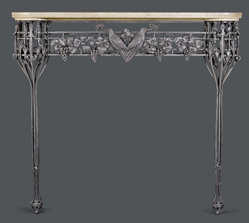 A very fine Art Deco wrought iron mantel piece with shaped, gray / beige stone plate, French, date circa 1930