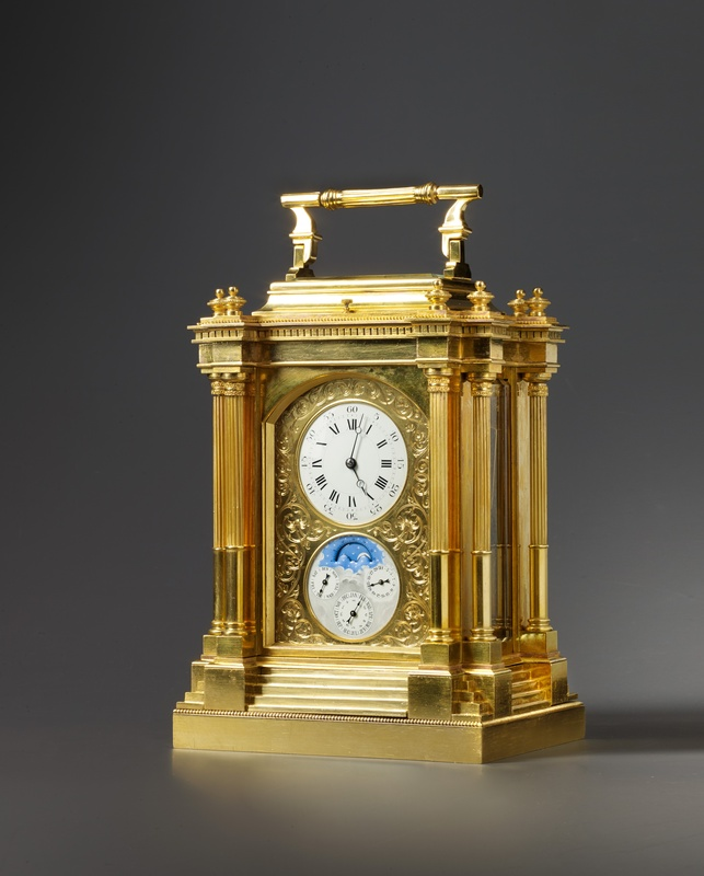 A French 19th Century carriage clock with Grande sonnerie, alarm and perpetual calendar, Paris, date circa 1880