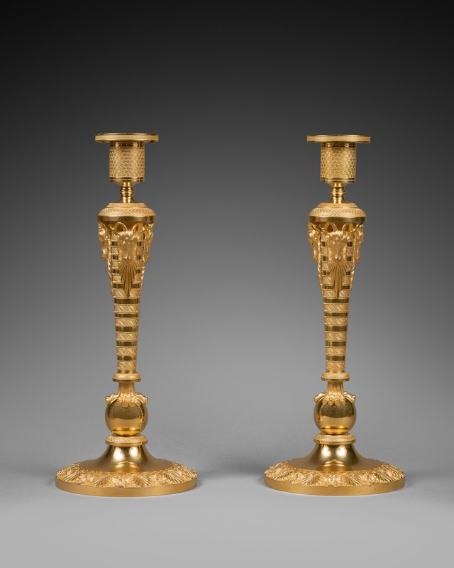Unknown, A pair of large Russian Empire gilt bronze candlesticks, Moscow, date 1810-20 circa