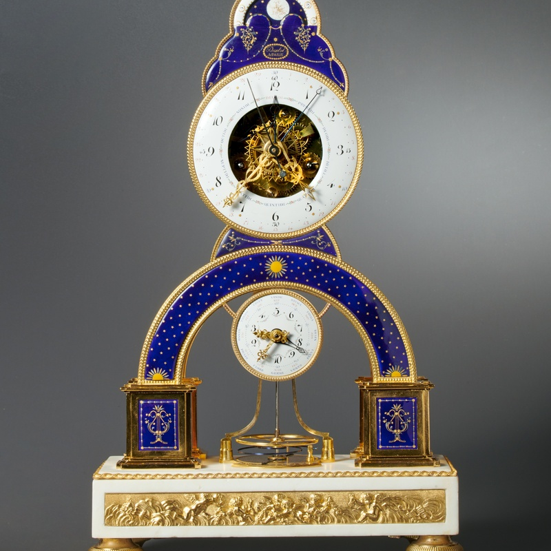 Darlot (D'Arlot) - A Directoire skeleton clock of eight day duration by Darlot , Paris, date circa 1793-95