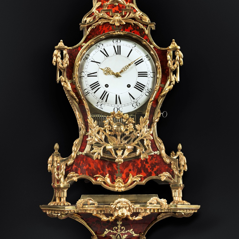 Denis-Frédéric Dubois - A Louis XV musical grand cartel clock with bracket by Denis-Fréderic Dubois