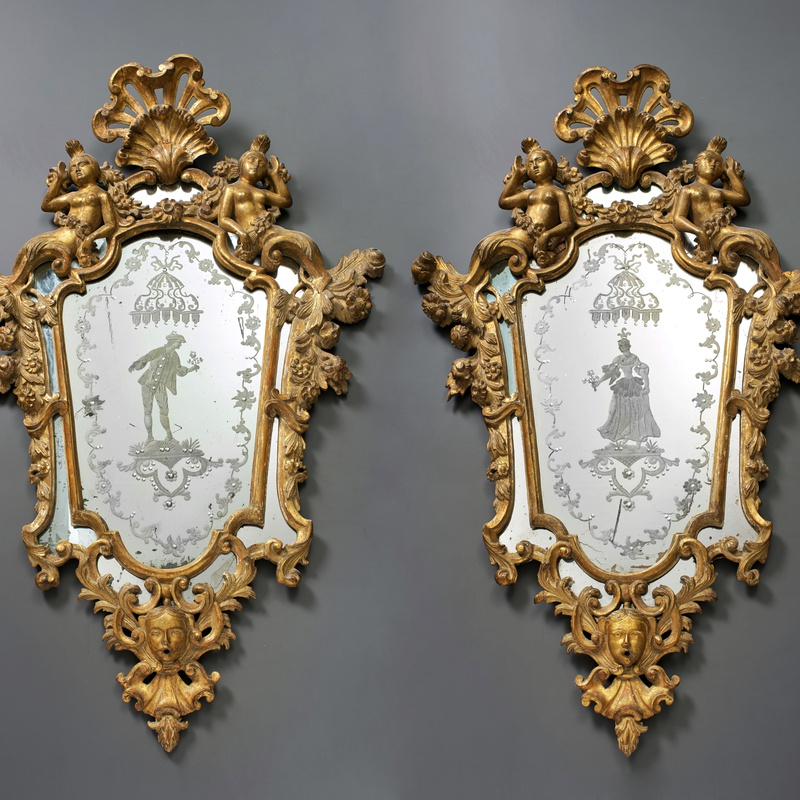 Unknown - A pair of Venetian Rococo engraved mirrors in frames, Venice, date circa 1740