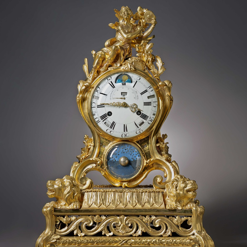 Pierre Millot - A Louis XV astronomical calendar mantel clock by Pierre Millot
