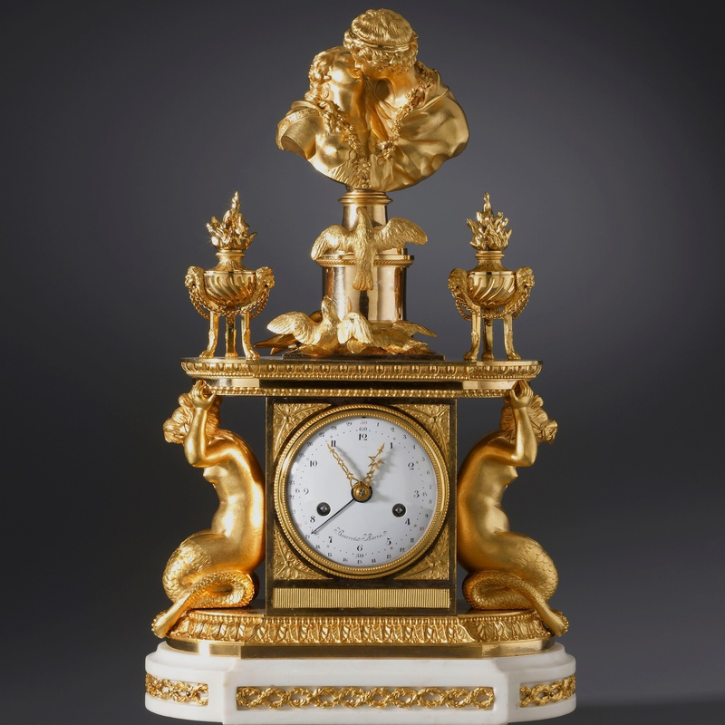 Noël Bourret - A late eighteenth century figural mantel clock of eight day duration by Noël Bourret