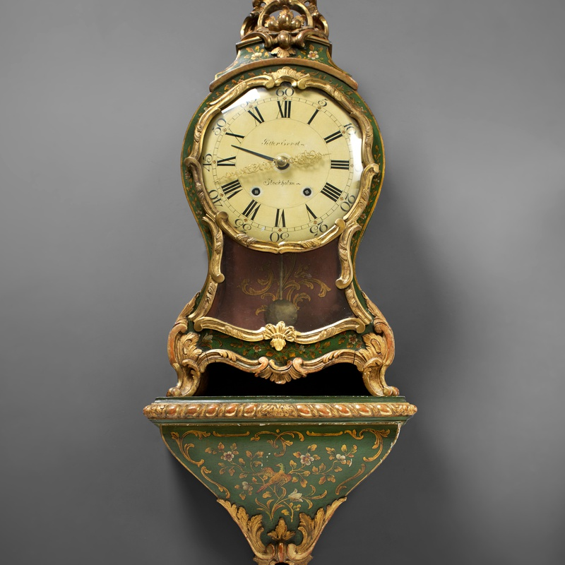 Petter Ernst - A Swedish Rococo cartel clock with bracket by Petter Ernst, Stockholm, date circa 1760