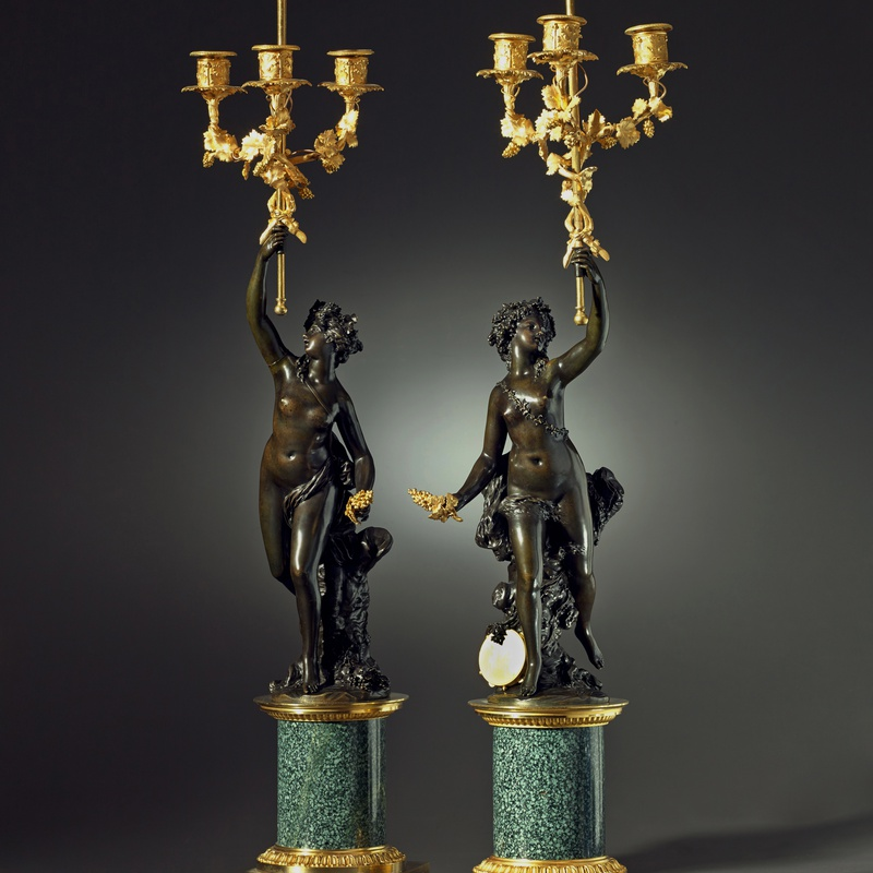 Joseph-Charles Marin (after) - A pair of Louis XVI three-light figural candelabra after a model attributed to Joseph-Charles Marin