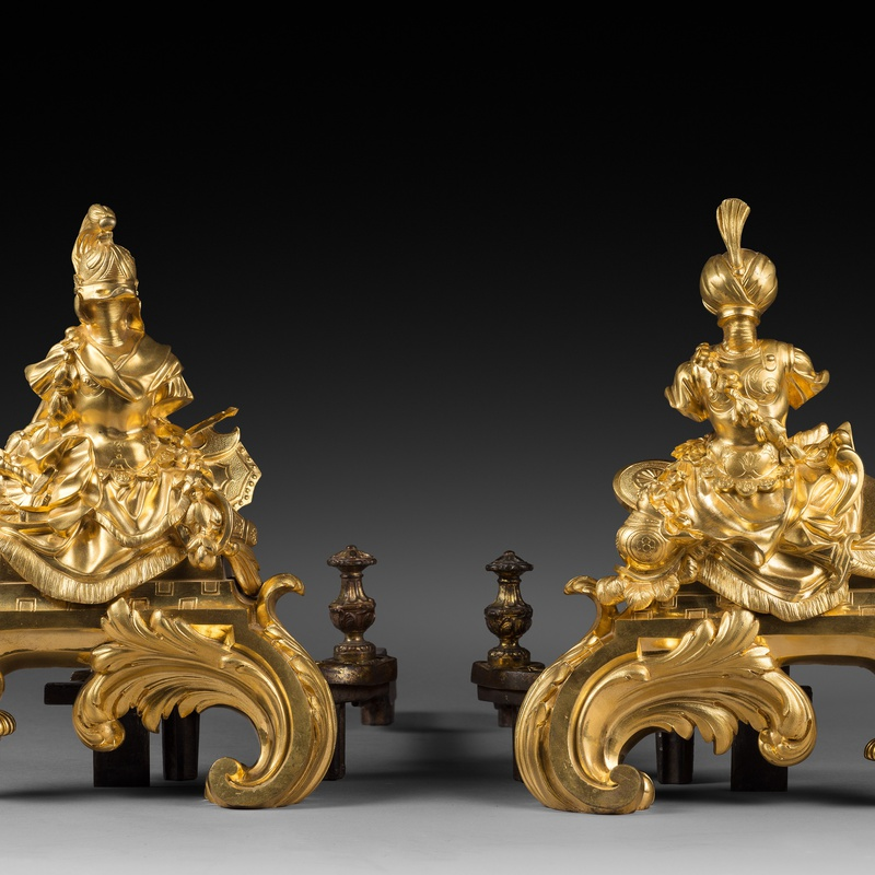 Nicolas Coustou (after) - A pair of Régence gilt bronze chenets after a design by Nicolas Coustou
