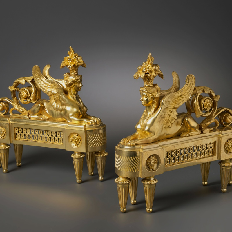 François-Joseph Bélanger (after) - A pair of Louis XVI chenets almost certainly after a design by François-Joseph Bélanger
