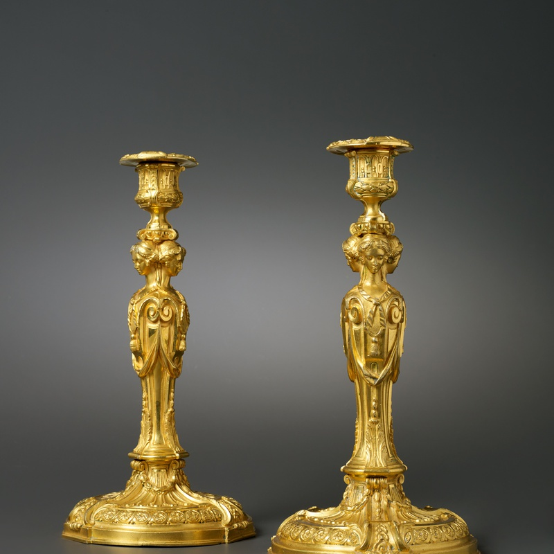 Jean-Démosthène Dugourc (after) - A pair of Louis XVI candlesticks after a model by Jean-Démosthène Dugourc, Paris, date circa 1785