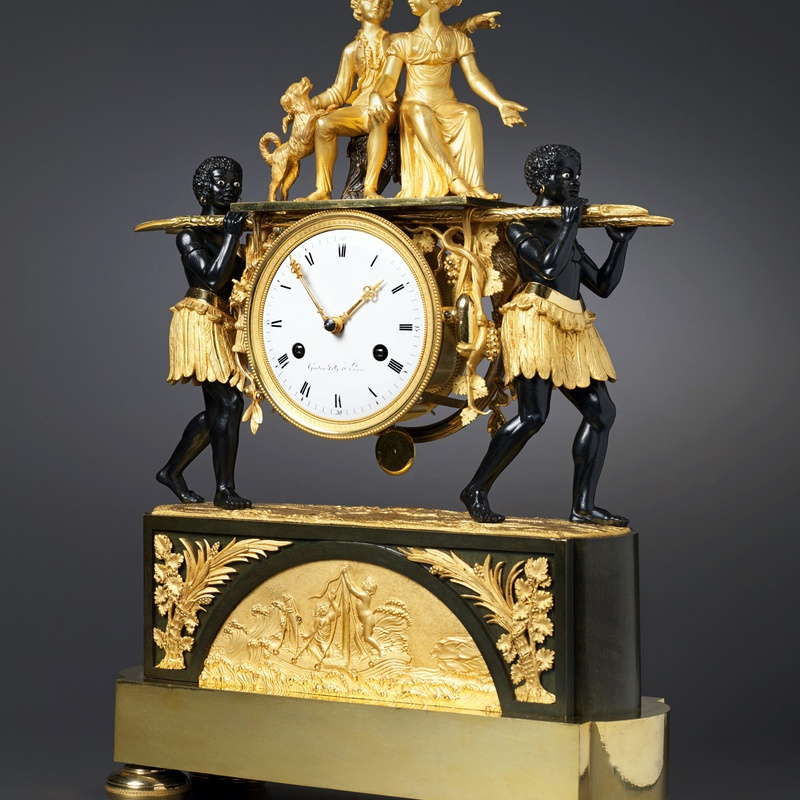 Pierre-Francois-Gaston Jolly - An Empire mantel clock of eight day duration by Pierre-Francois-Gaston Jolly