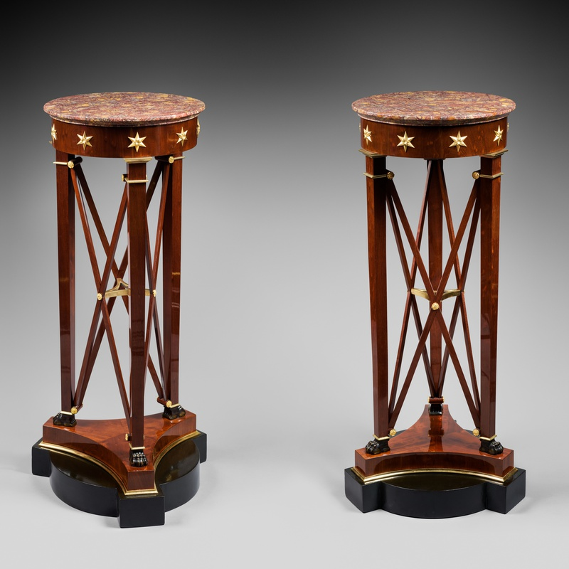 Jacob-Desmalter (attributed to) - A pair of Empire pedestal sellettes à bande croisée attributed to Jacob-Desmalter et Cie, after a design by Charles Percier, Paris, date circa 1805-1810