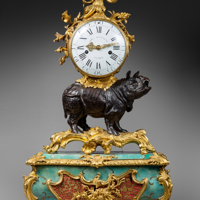 Noel Baltazar - A Louis XV 'Pendule au Rhinoceros' by Noel Baltazar, the musical movement by Viger, case by Jean-Joseph de Saint-Germain