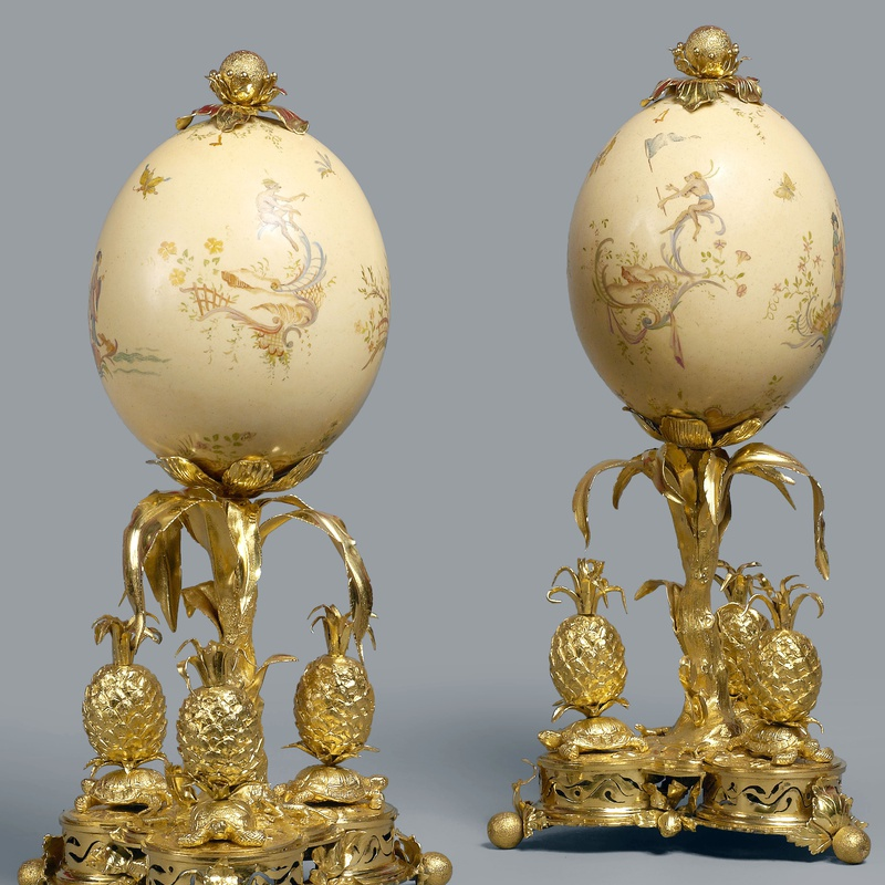 Lebel (attributed) - A pair of Louis XV ostrich eggs attributed to Lebel