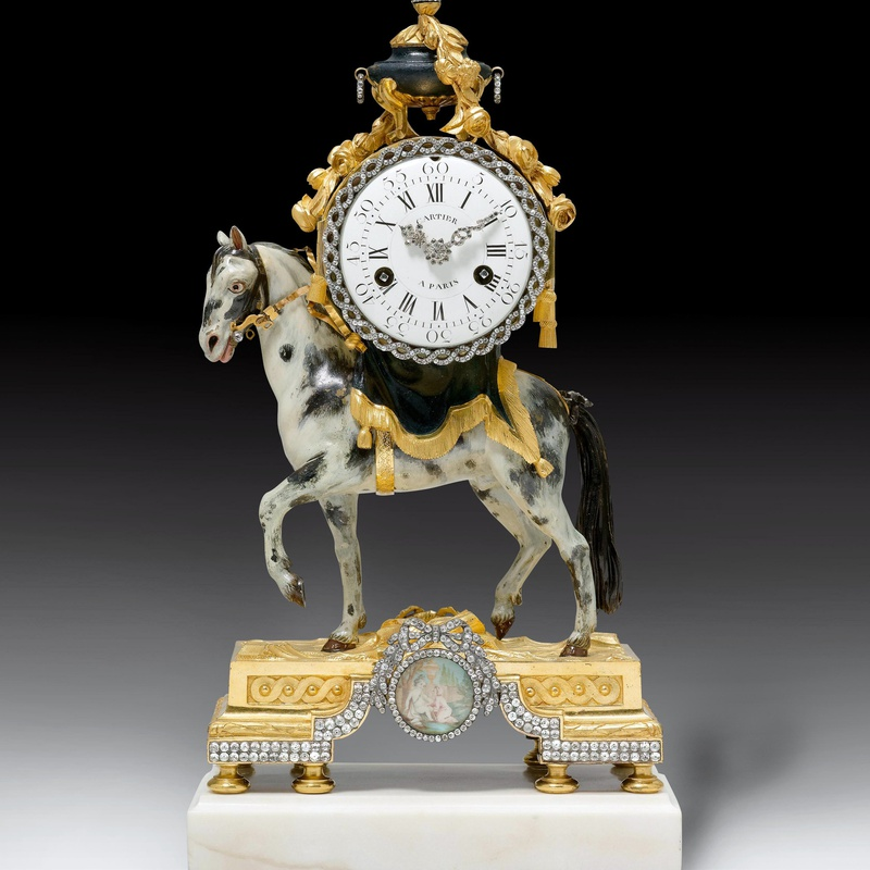 Bernard Cartier - A Louis XVI miniature pendule 'au cheval' by Bernard Cartier, the case by François Vion
