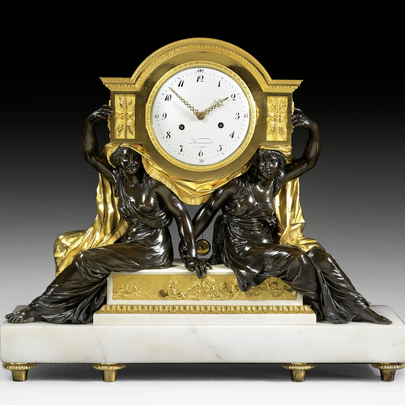 Charles-Guillaume Manière - A late Louis XVI mantel clock movement by Charles-Guillaume Manière, the case attributed to François Rémond
