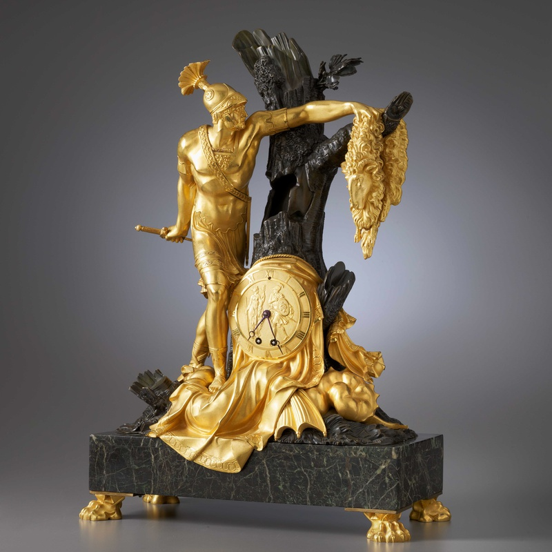 Pierre-François Feuchère (attributed to) - An Empire mantel clock with case representing Jason and the Golden Fleece attributed to Pierre-François Feuchère