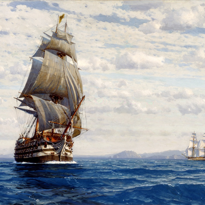 "Michael Zeno Diemer - ""Man 'O' War off the Coast of Valparaiso"" by Michael Zeno Diemer"