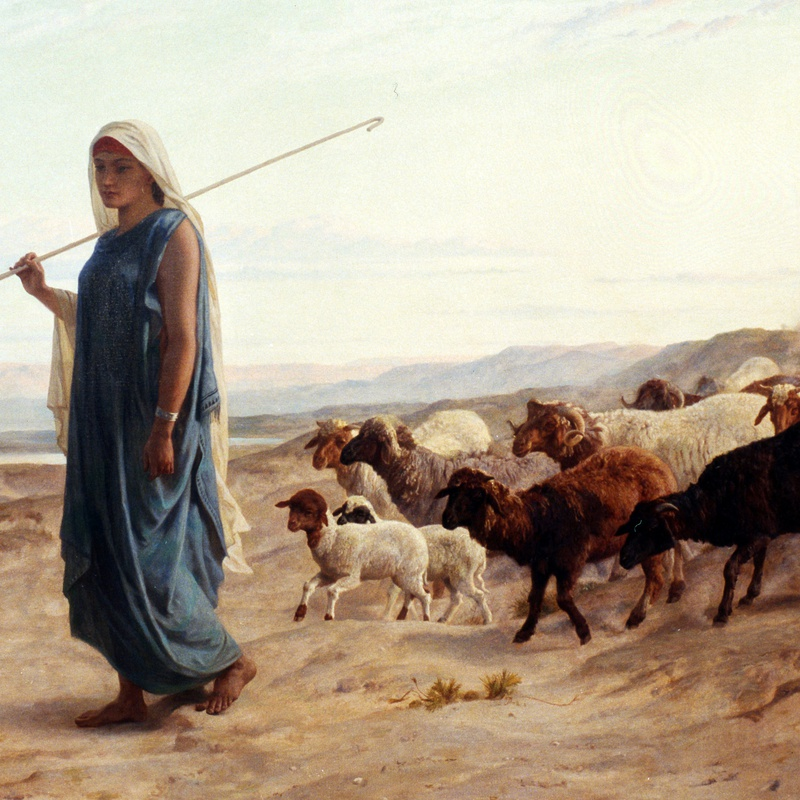 "Frederick Goodall R.A. - ""Rachel and her Flock"" by Frederick Goodall"